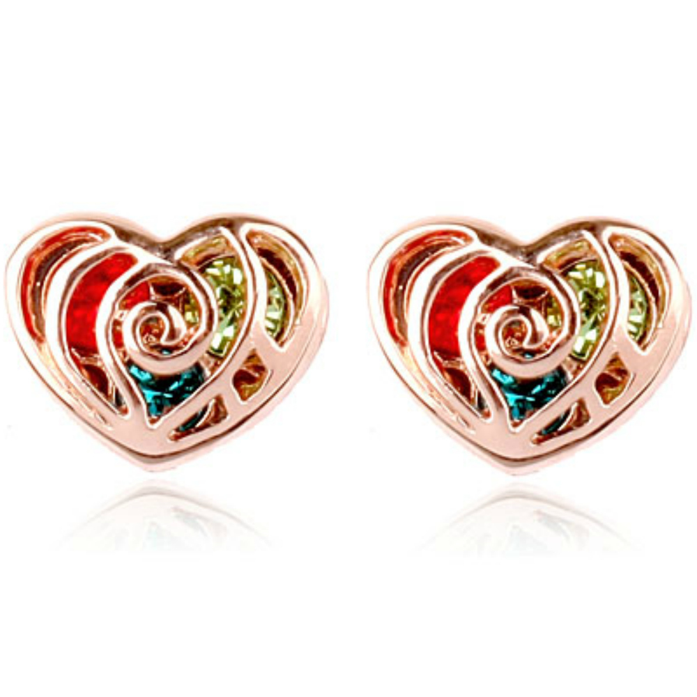 Multi-colour heart shaped stud earrings with 18ct rose gold finish - AnjasMagicBox.co.uk - The Goldmine