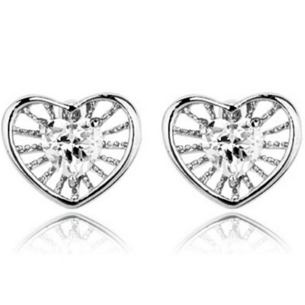White gold finish heart stud earrings with clear cubic zirconias - The Goldmine - Anja's Magic Box